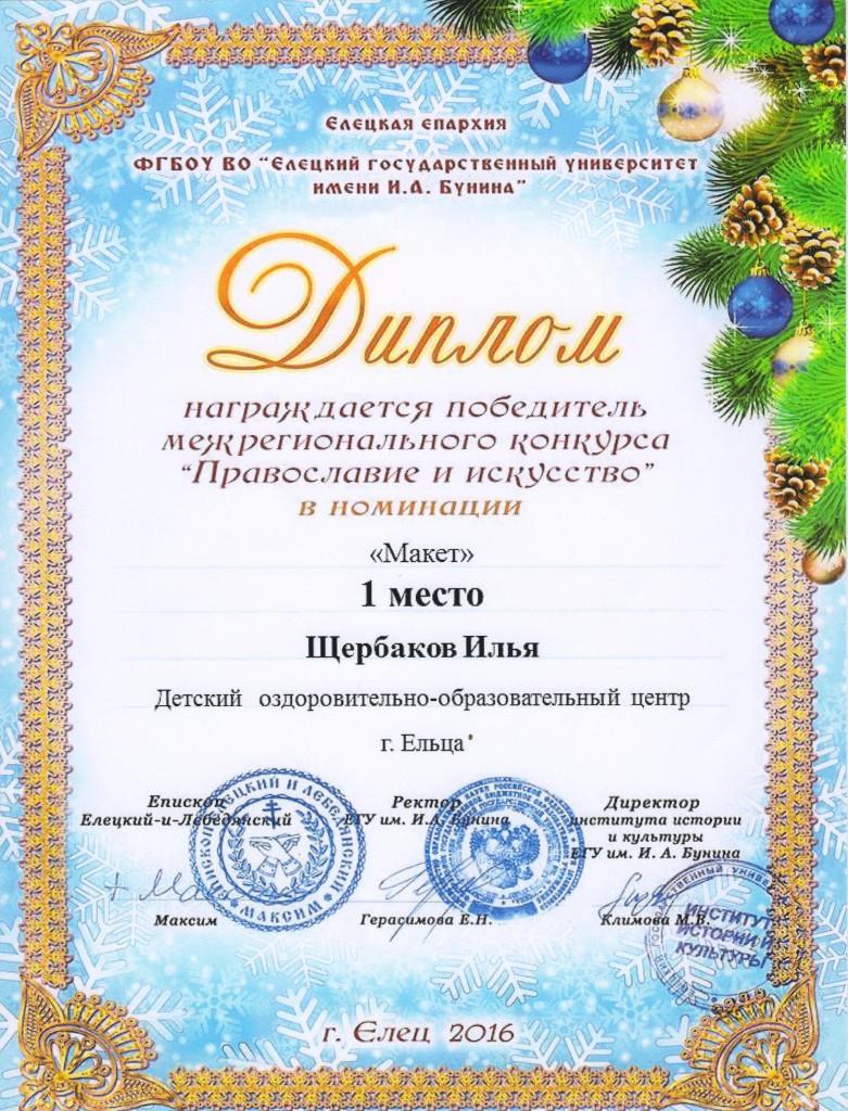 Диплом Щербакова Ильи
