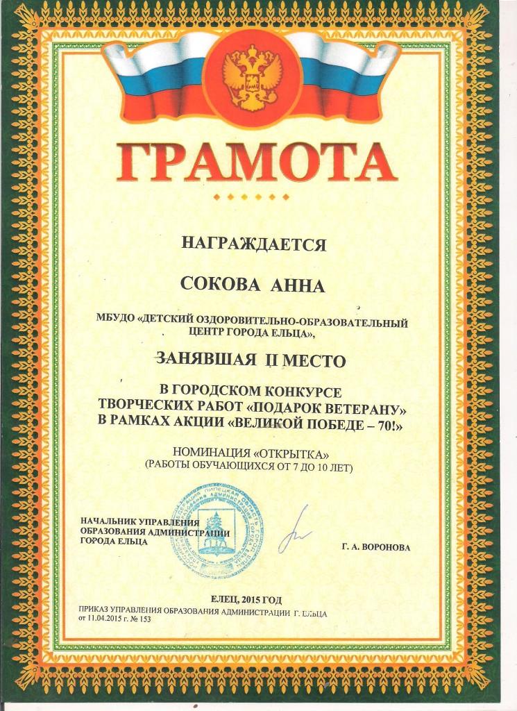 Сокова Анна 2 место